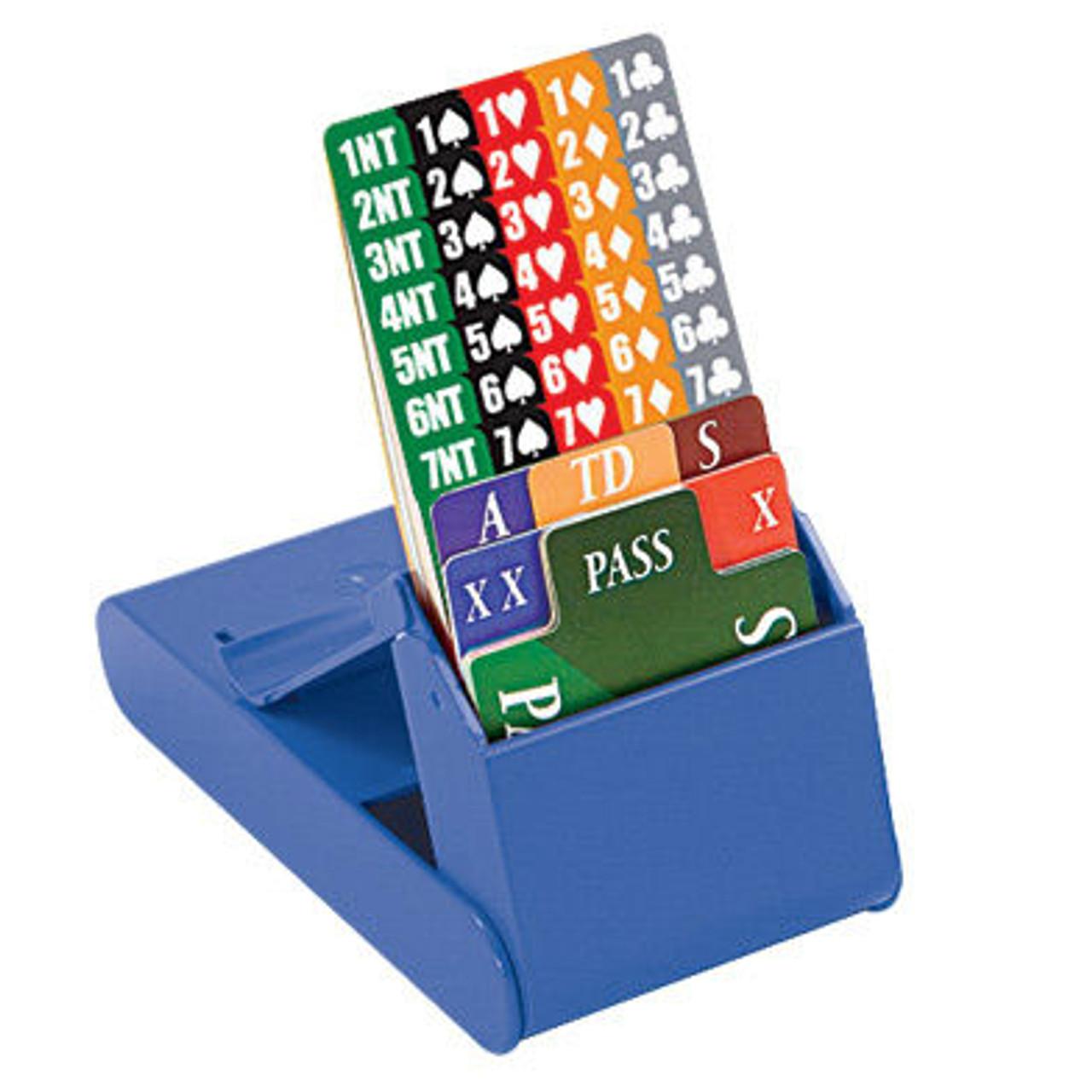 Set cu 4 casete de licitatii pentru bridge de culoare albastra ( bridge bidding box cu cartonase 100% plastic)
