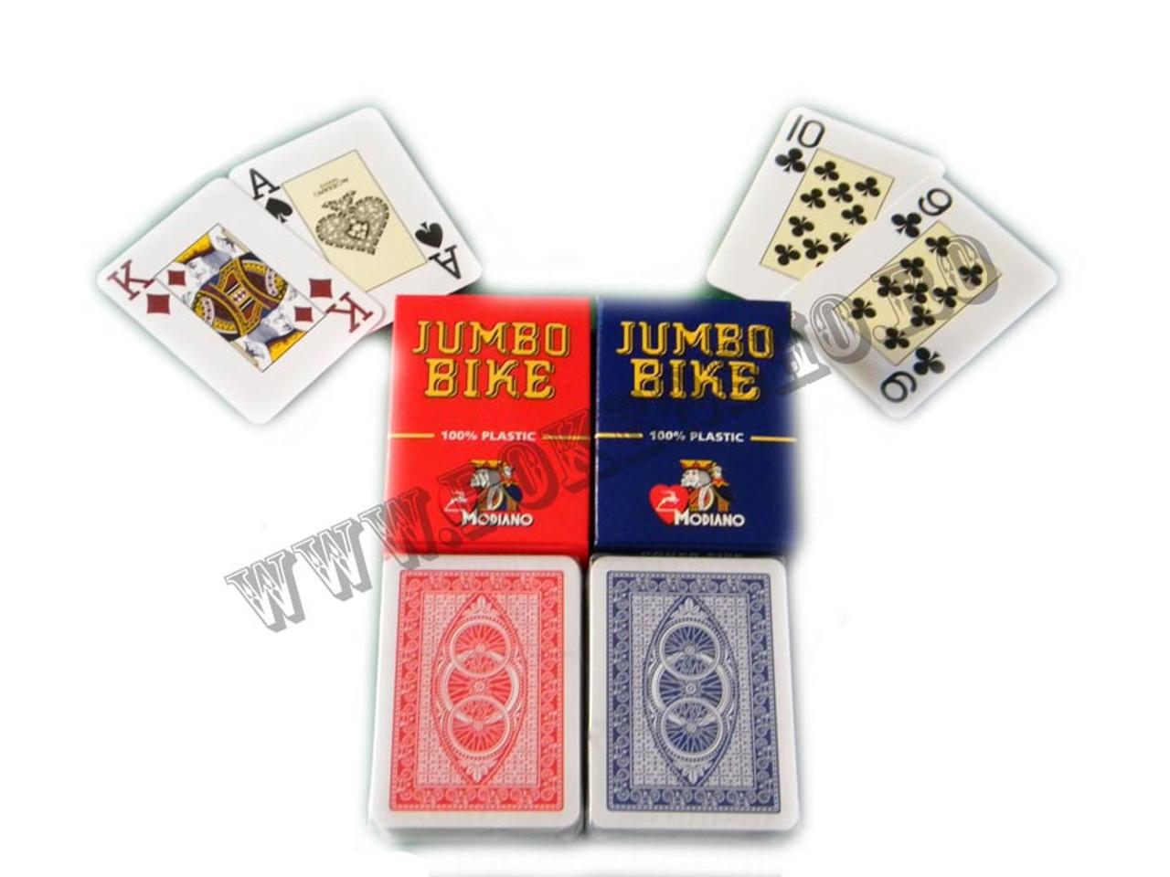 Jumbo Bike plastic albastru - carti de joc Modiano pentru poker texas holdem, 100% plastic cu index mare si spate albastru