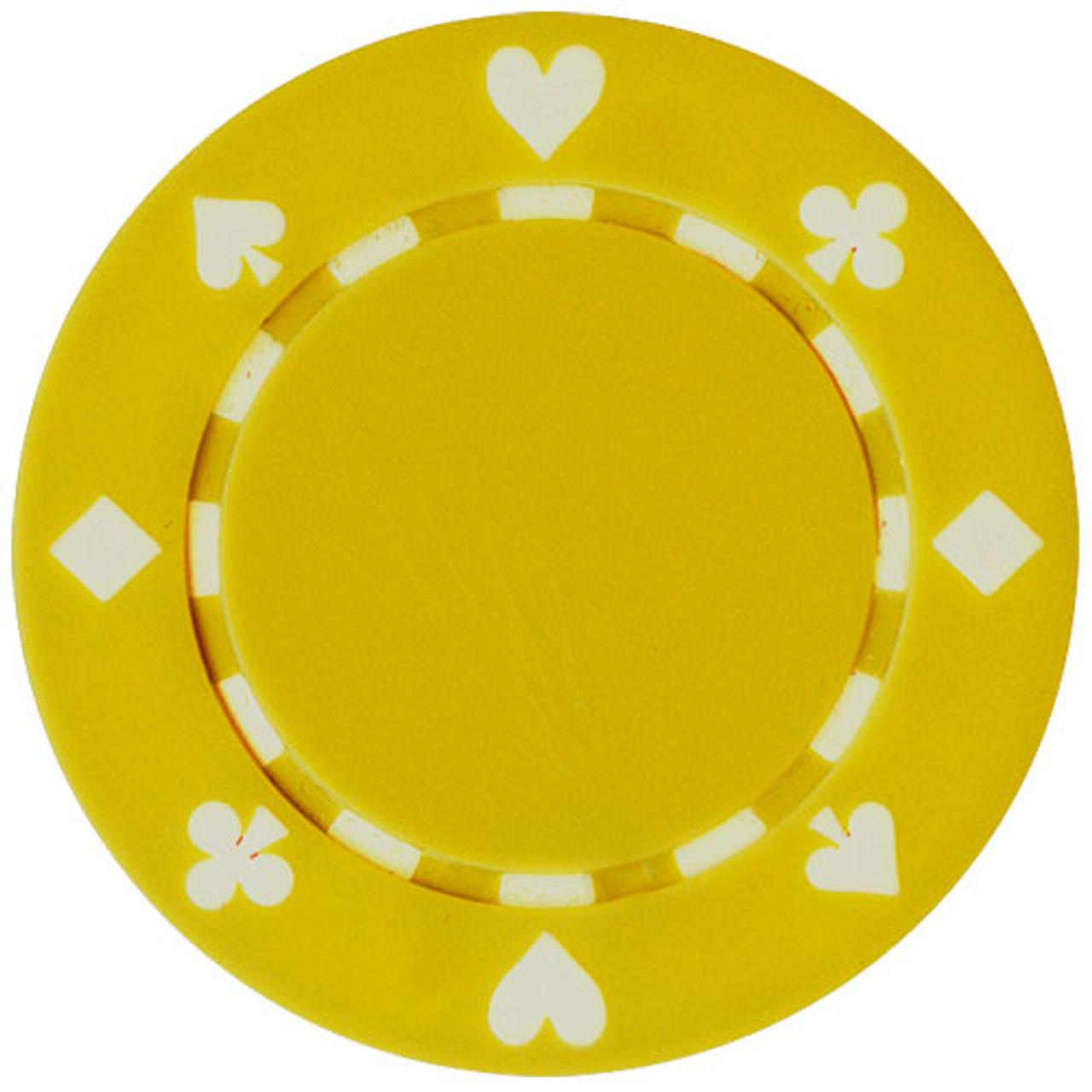 Set 25 Jetoane poker model suited culoare galben