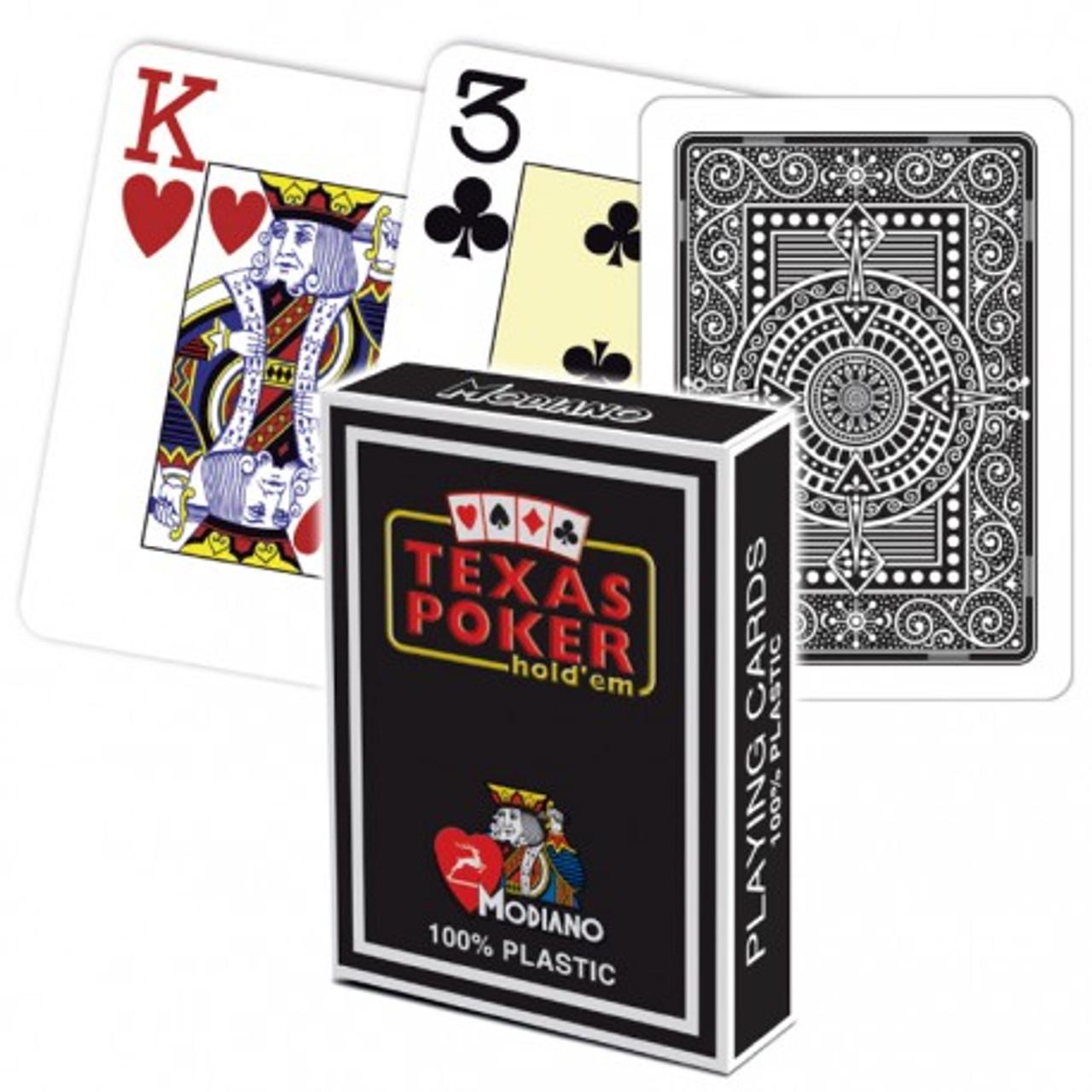 Carti de Texas Holdem 100% plastic, cu index mare negre