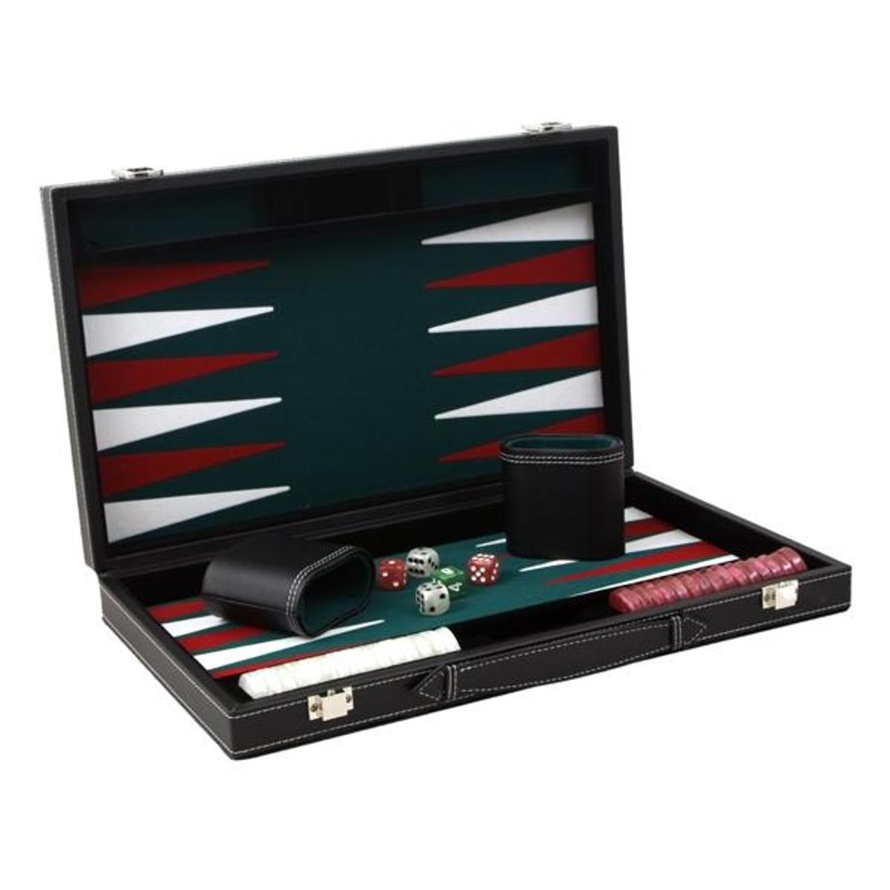 Set joc Table/Backgammon in servieta imitatie piele de culoare Neagra 38 Cm