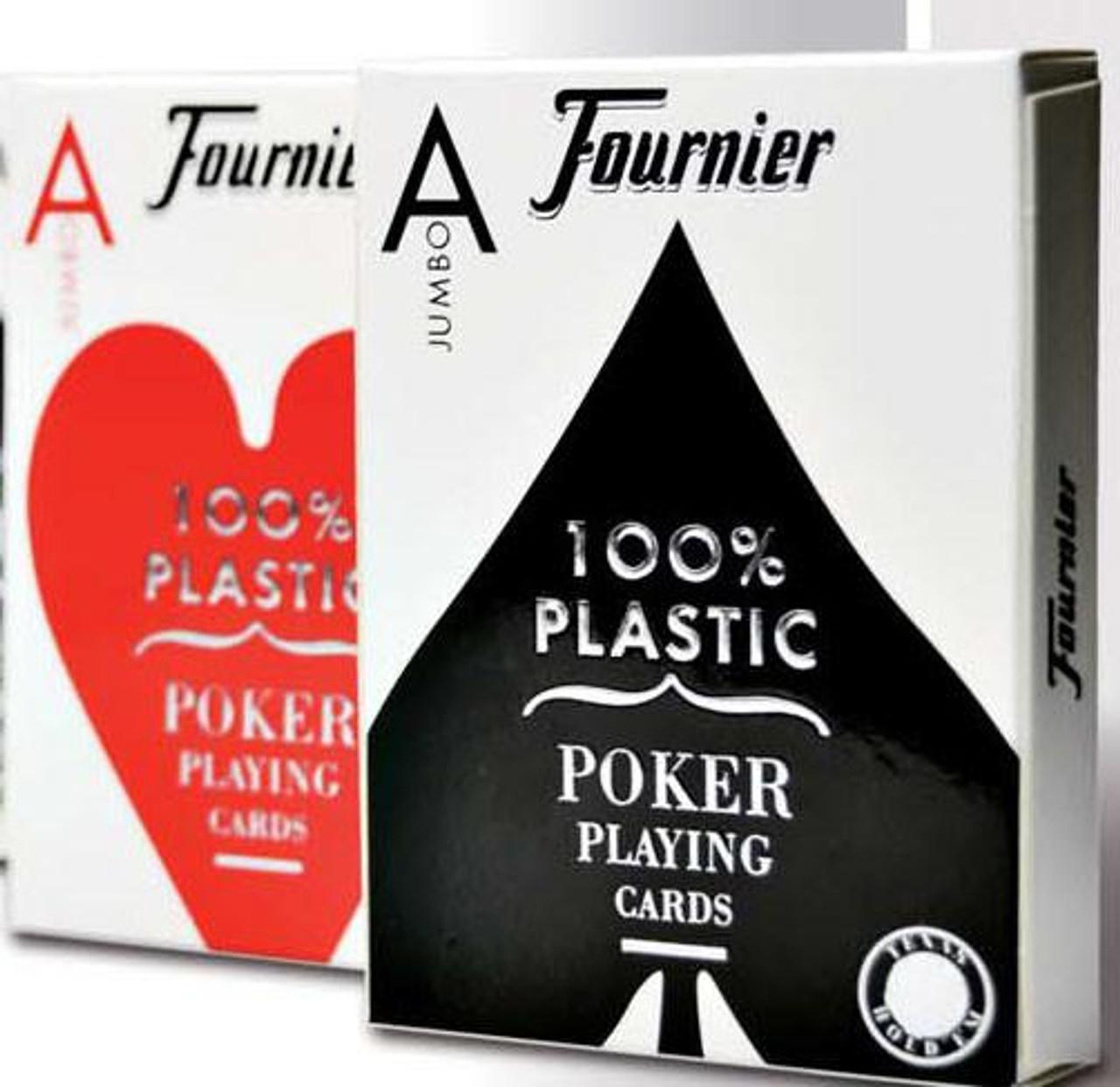 Carti poker 100% plastic Fournier 2800 cu jumbo index si spate rosu