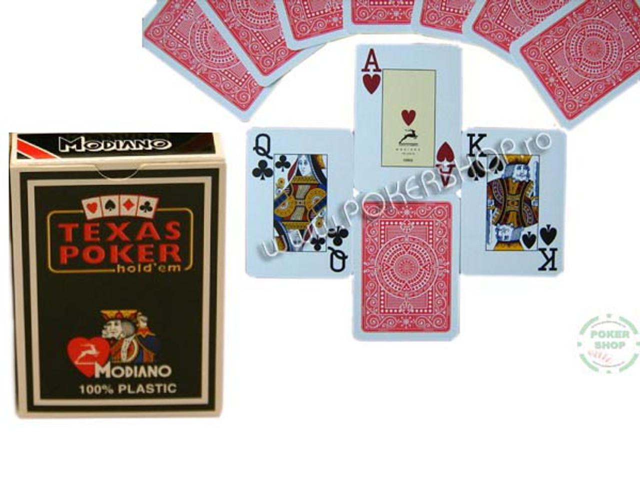 Carti de Texas Holdem 100% plastic, cu index mare rosu