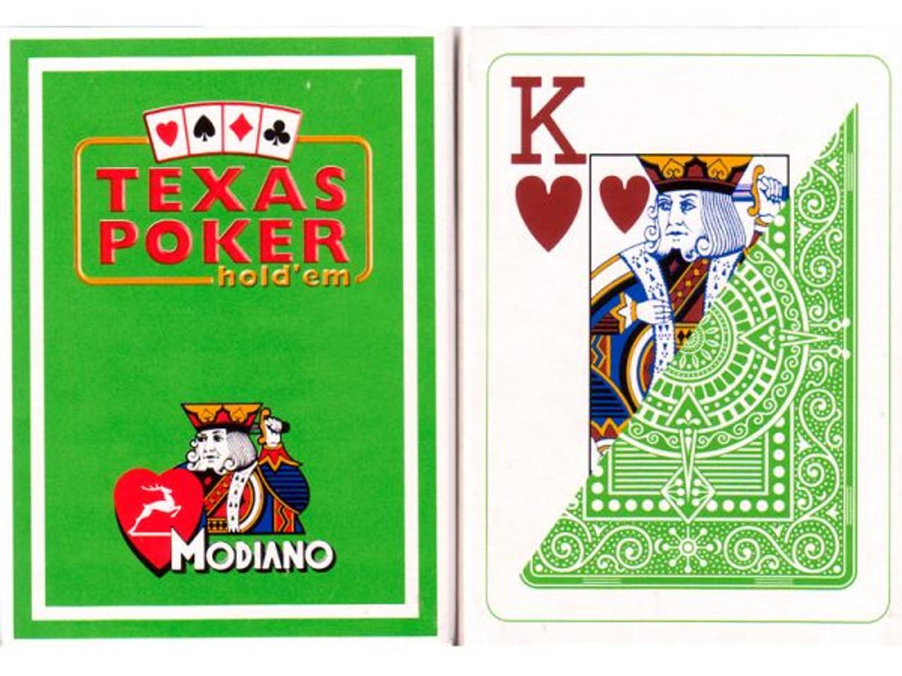 Carti de Texas Holdem 100% plastic, cu index mare verde deschis