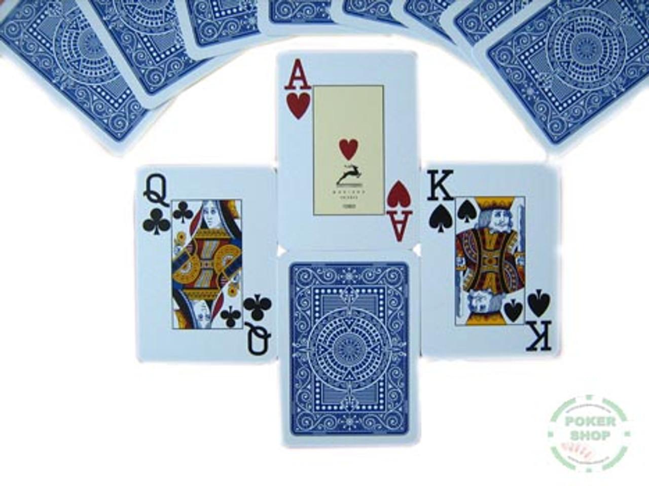 Carti de joc Modiano 100% plastic cu index mare albastru