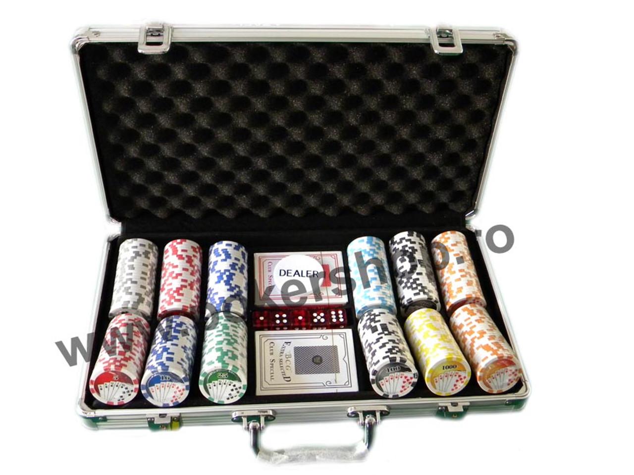 Set poker in servieta din aluminiu cu 300 de jetoane inscriptionate Card Flush cu muchia rotunjita 1