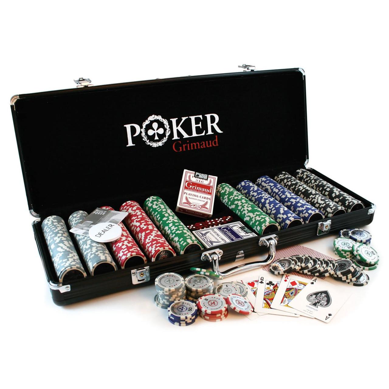 Set poker profesional Grimaud (Franta), 500 jetoane (11,5g), 2 pachete carti de joc, 5 zaruri