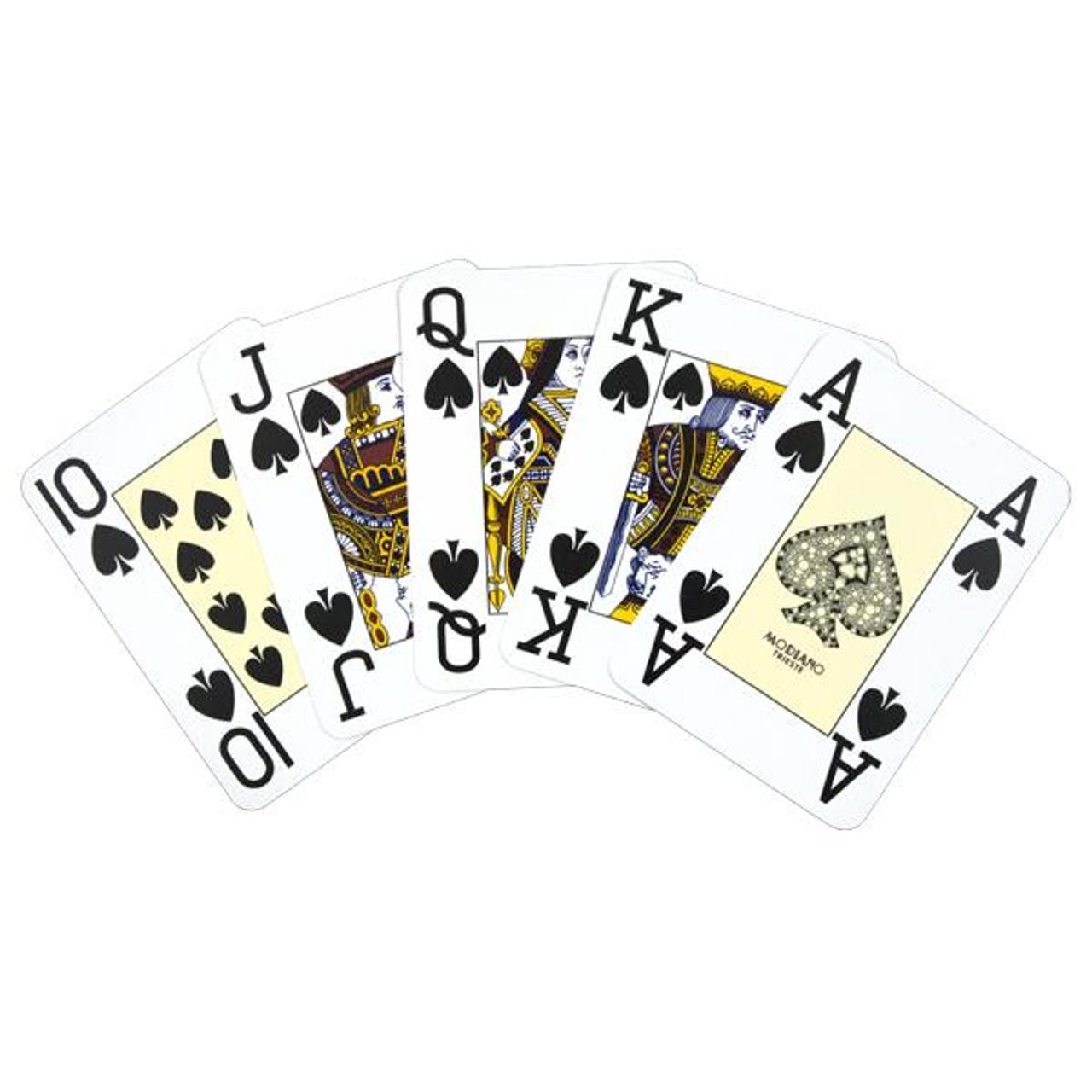 Carti profesionale de poker MODIANO 100% plastic cu index mare pe 4 colturi portocaliu