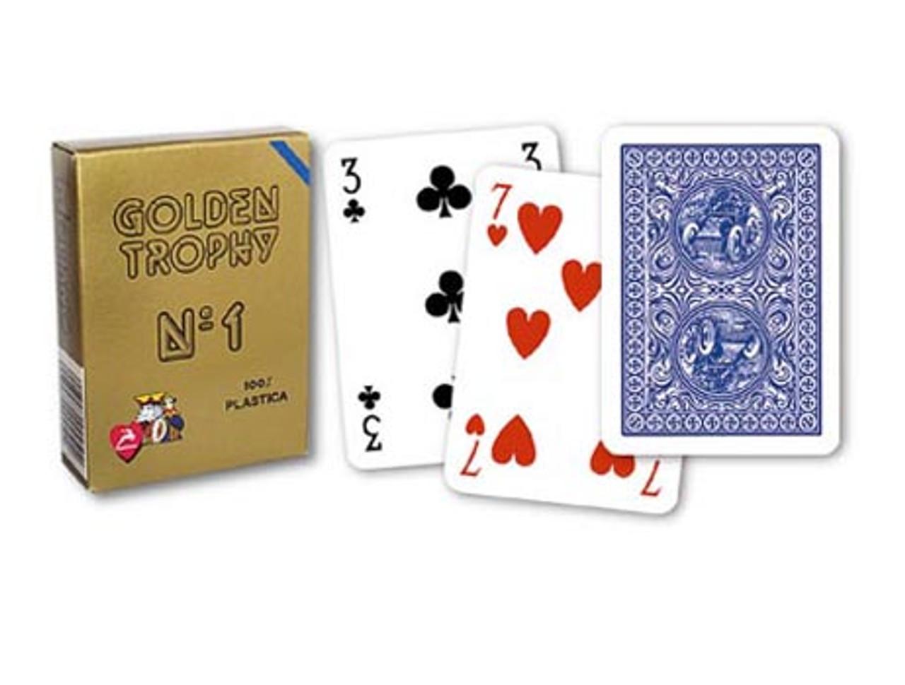 Carti de joc GOLDEN TROPHY MOTO 100% plastic albastru
