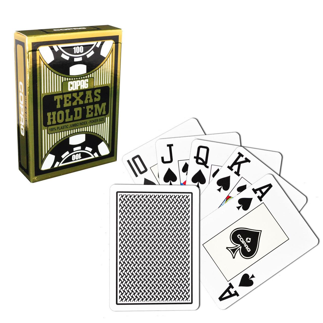 Carti profesionale COPAG TEXAS HOLD'EM GOLD 100% plastic cu JUMBO index si spate negru