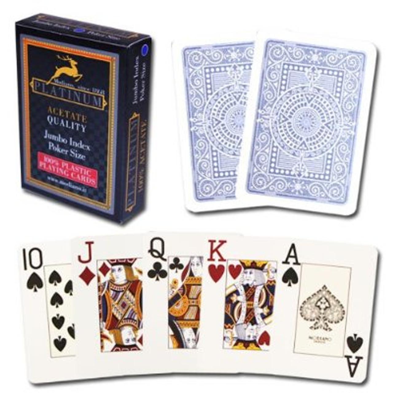 Carti pentru poker - Platinum - 100% plastic Acetate cu index Mare si Spate Albastru