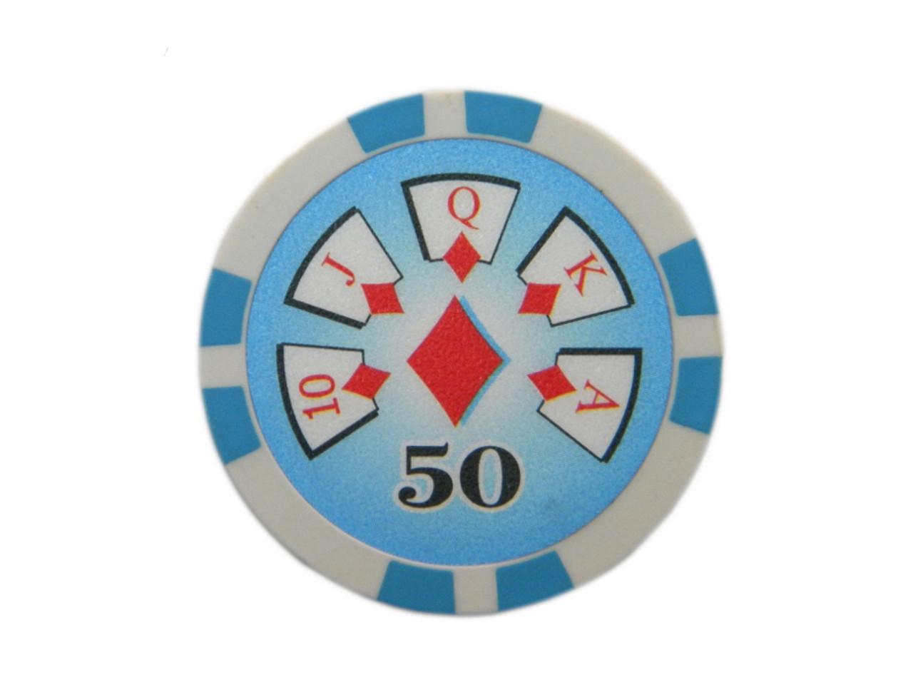 Fisic 25 jetoane Royal Flush - Albastre - Valoare printata : 50