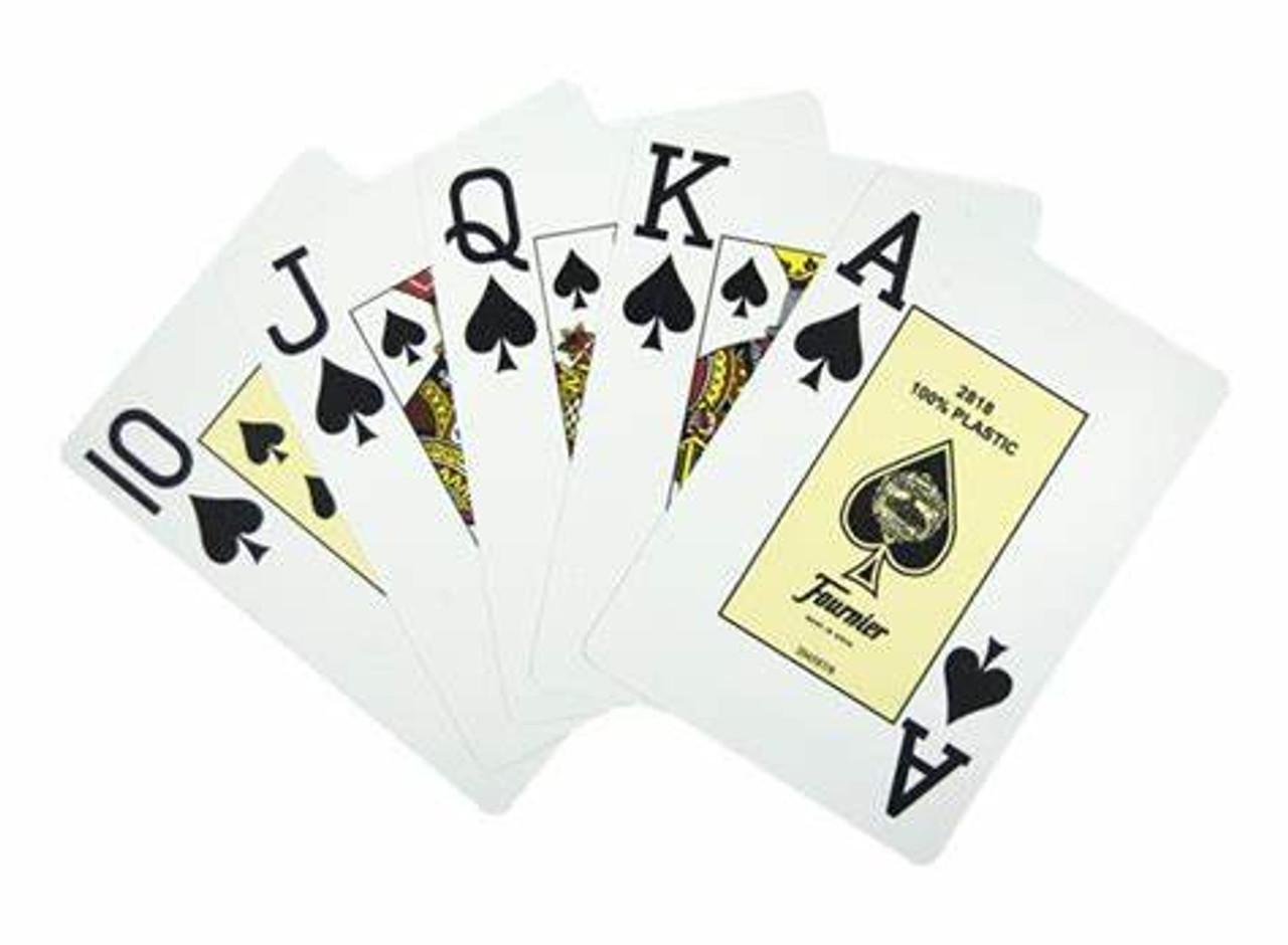 Carti profesionale pentru poker Casino Only Fournier 2818, 100% plastic cu index Jumbo pe doua colturi cu spate rosu
