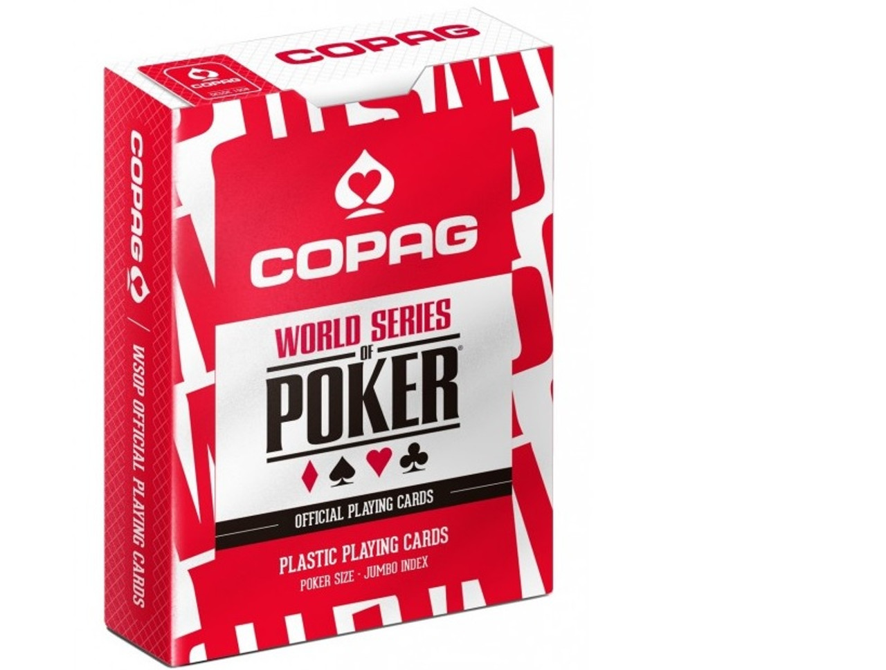 Carti profesionale WSOP 100% plastic cu JUMBO index si spate rosu