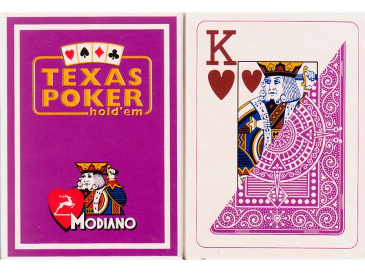 Carti de Texas Holdem 100% plastic, cu index mare mov