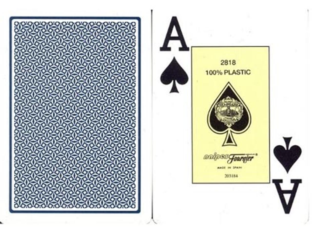 Carti poker 100% plastic Fournier 2800 cu jumbo index si spate albastru