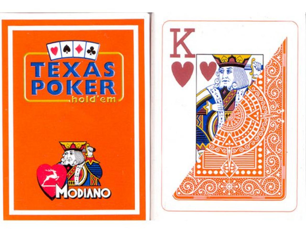 Carti de Texas Holdem 100% plastic, cu index mare portocaliu
