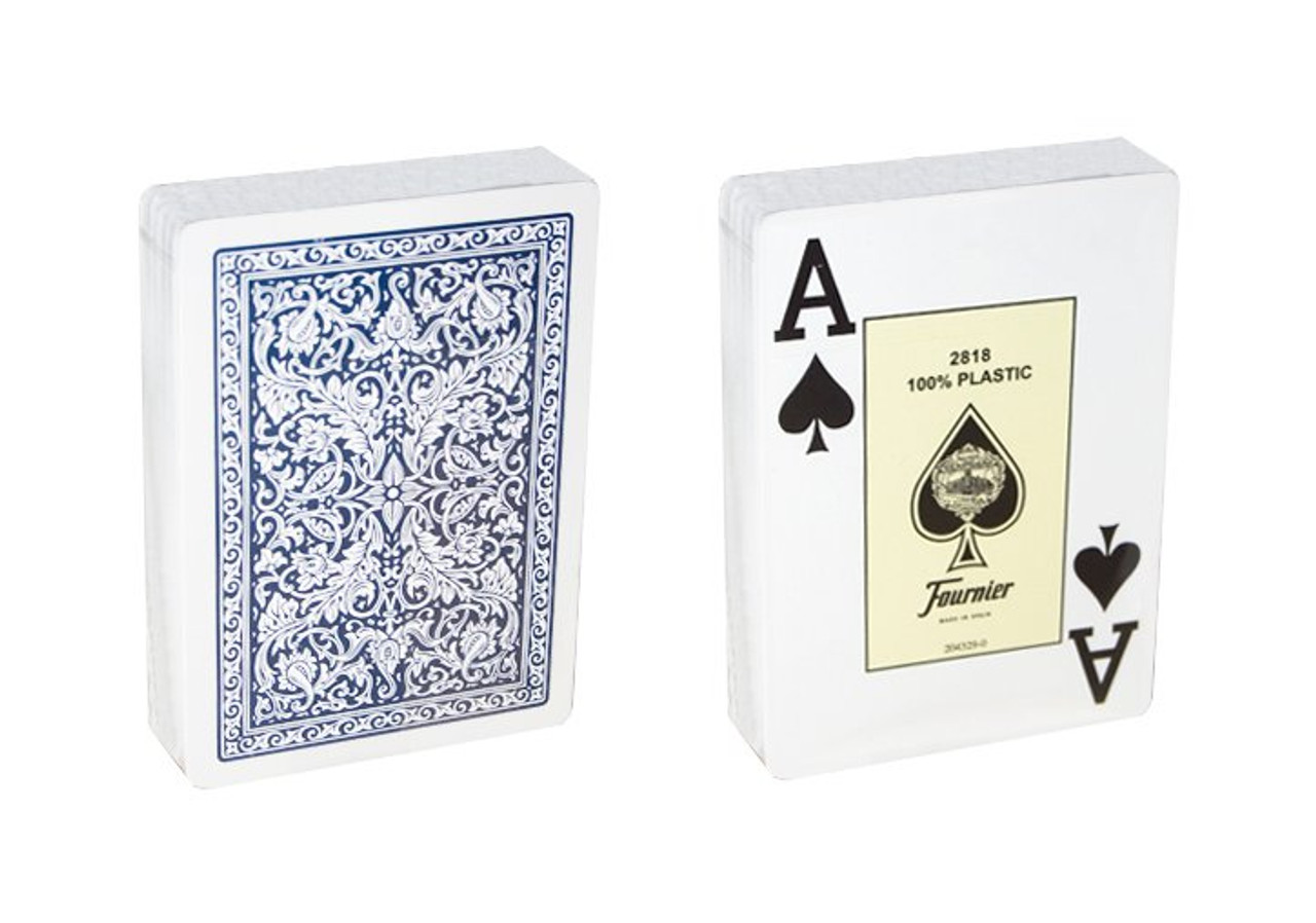 Carti profesionale pentru poker Casino Only Fournier 2818, 100% plastic cu index Jumbo pe doua colturi cu spate albastru