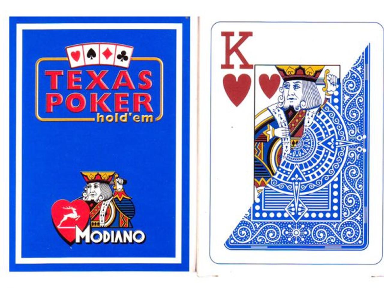 Carti de Texas Holdem 100% plastic, cu index mare albastru deschis