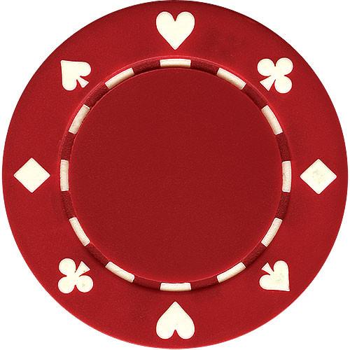 Set 25 poker chips model suited culoare rosie
