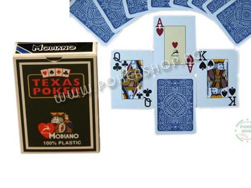 Carti de Texas Holdem 100% plastic, cu index mare albastru
