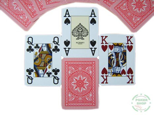 Carti profesionale de poker MODIANO 100% plastic cu index mare pe 4 colturi rosu