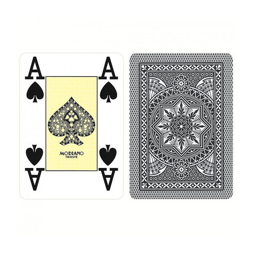 Carti profesionale de poker MODIANO 100% plastic cu index mare pe 4 colturi negre