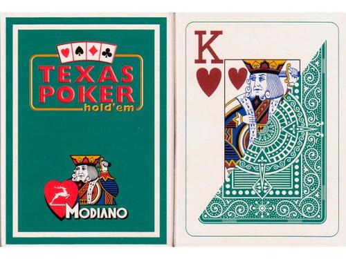Carti de Texas Holdem 100% plastic, cu index mare verde inchis