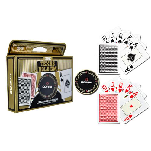 Copag Texas Holdem Gold 100% plastic jumbo index set de 2 pachete cu buton de dealer metalic