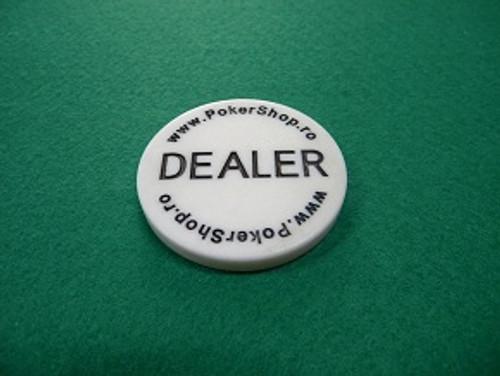 Buton de dealer standard Pokershop cu inscriptie pe ambele fete