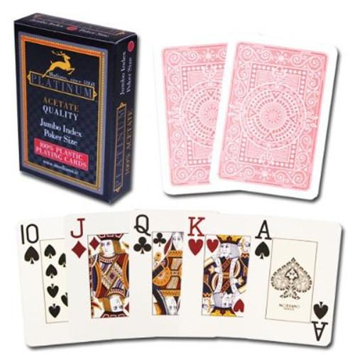 Carti pentru poker - Platinum - 100% plastic Acetate cu index Mare si Spate Rosu