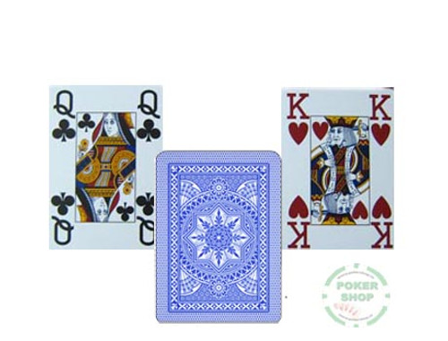 Carti profesionale de poker MODIANO 100% plastic cu index mare pe 4 colturi albastru deschis