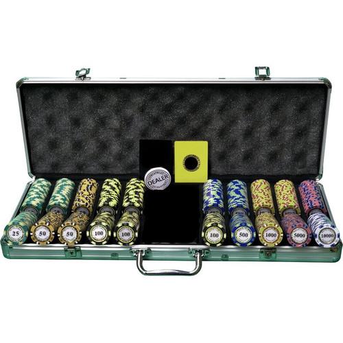 Set poker cu 500 chips-uri de 14g model MONTECARLO Premium + un pachet de carti 100% plastic Dal Negro CADOU