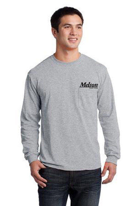 Gildan Ultra Cotton 100% Cotton Long Sleeve Pocket T-Shirt Grey