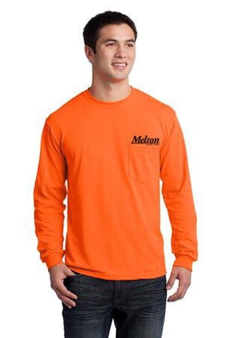 Gildan Ultra Cotton 100% Cotton Long Sleeve Pocket T-Shirt - Orange