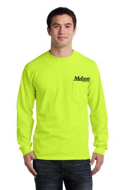 Gildan Ultra Cotton 100% Cotton Long Sleeve Pocket T-Shirt Yellow