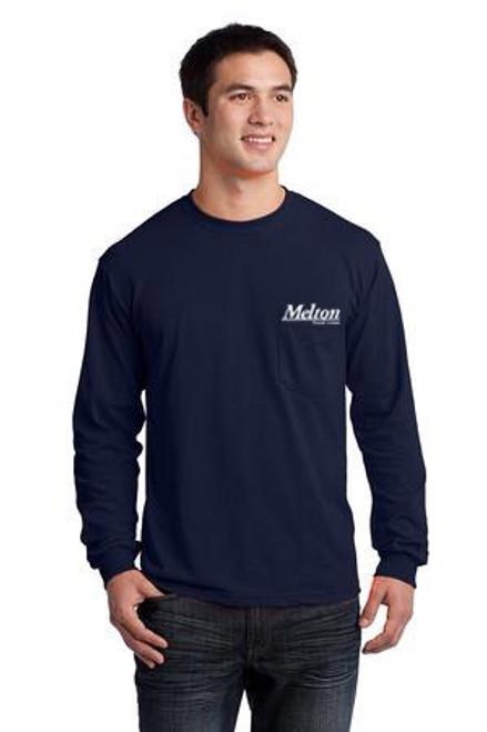 Gildan Ultra Cotton 100% Cotton Long Sleeve Pocket T-Shirt Navy