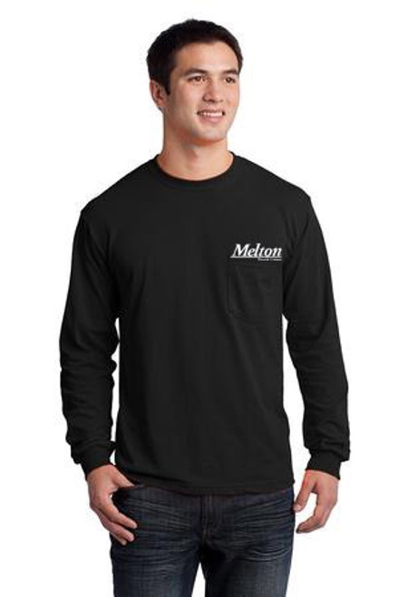 Gildan Ultra Cotton 100% Cotton Long Sleeve Pocket T-Shirt Black