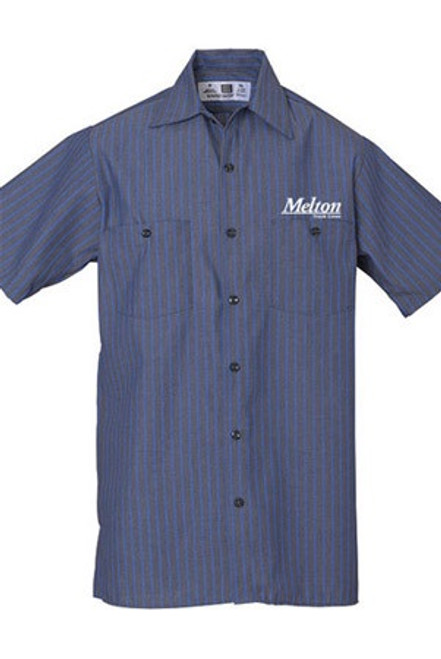 REED Striped Work Shirt 43 S/S - Grey/Blue