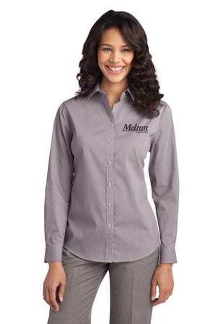 SALE - Port Authority Ladies Fine Stripe Stretch Long Sleeve Poplin Shirt - Aubergine Purple/White