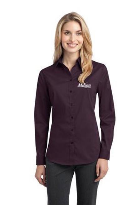 SALE - Port Authority Ladies Stretch Long Sleeve Poplin Shirt - Abergine Purple