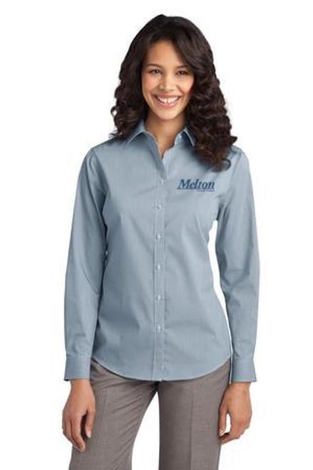 SALE - Port Authority Ladies Fine Stripe Stretch Long Sleeve Poplin Shirt - Moonlight Blue/White