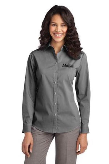 SALE - Port Authority Ladies Fine Stripe Stretch Long Sleeve Poplin Shirt - Black/White