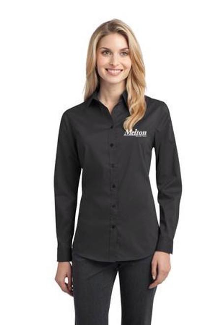 SALE - Port Authority Ladies Stretch Long Sleeve Poplin Shirt - Grey Smoke