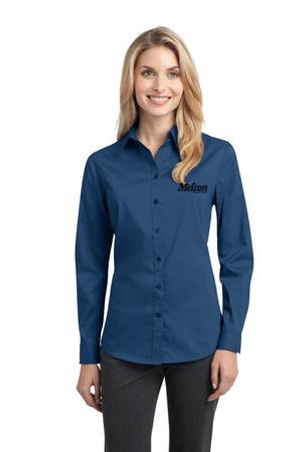 SALE - Port Authority Ladies Stretch Long Sleeve Poplin Shirt - Moonlight Blue