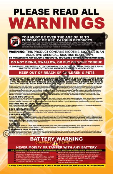 No Name Poster-Nicotine and Battery Warnings