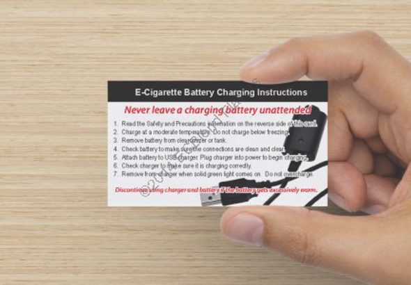 ECBlend Battery Safety and Instructions Card for E-Cigarettes