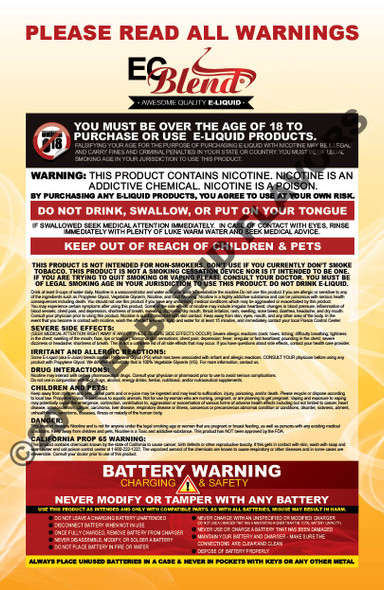 ECBlend Poster-Nicotine and Battery Warnings