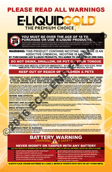 E-Liquid Gold Poster-Nicotine and Battery Warnings