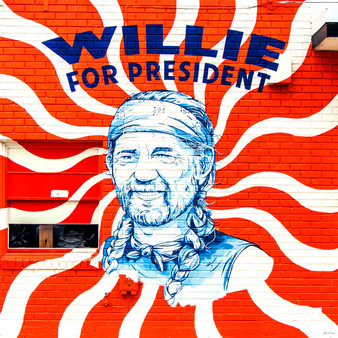 Willie for President mural lines the south wall of STAG Provisions for Men at 100 East Elizabeth Street in South Austin. The mural was drawn by Jacqui Oakley with type and background designed by Erick Montes and painted by Joe Swec.